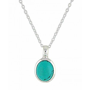 Oval Turquoise Silver Necklace