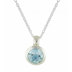 Round Small Faceted Blue Topaz Silver Necklace