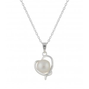 Cross Over Heart and Small Pearl Silver Pendant