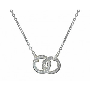 Hammered Ring Silver Necklace