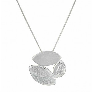 Trio Leaf Contemporary Silver Pendant