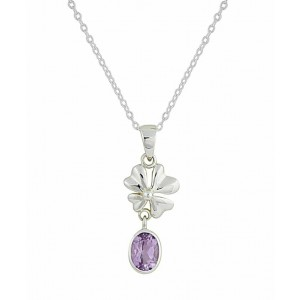 Four Petal Flower and Amethyst Silver Necklace