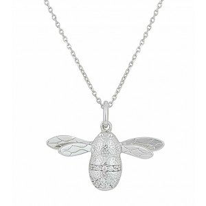 Bumble Bee cubic zirconia Silver Necklace
