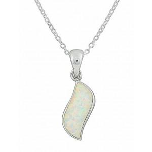 White Opal Wave Silver Pendant