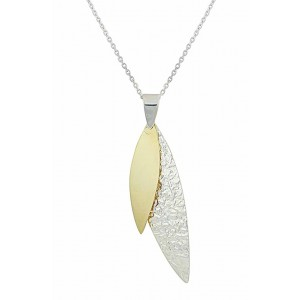 Two tone Leaf Pendant