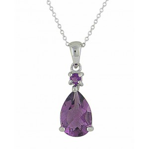 Amethyst Circle and Teardrop Silver Necklace