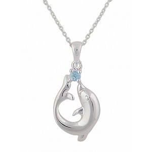 Swiss Blue Topaz and Dolphin Silver Necklace