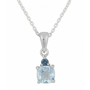 Blue Topaz Twin Square Silver Necklace