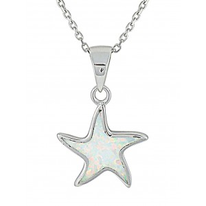 Small Starfish White Opal Silver Pendant | The Opal