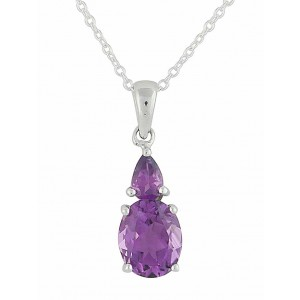 Teardrop and Oval Amethyst Silver Necklace