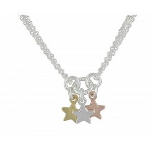Trio of Star Silver Necklace