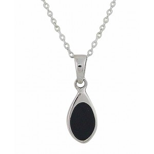 Black Onyx Small Silver Pendant 21mm