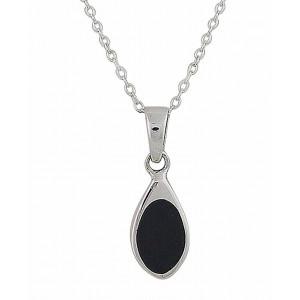 Black Onyx Small Silver Pendant 21mm