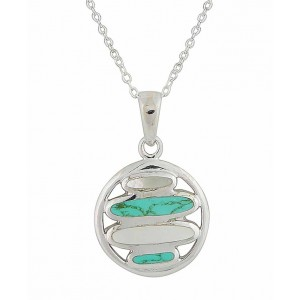 Mother of Pearl and Turquoise Circle Necklace