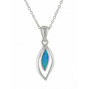 Marquise Blue Opal Silver Necklace
