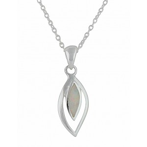 Marquise White Opal Silver Necklace