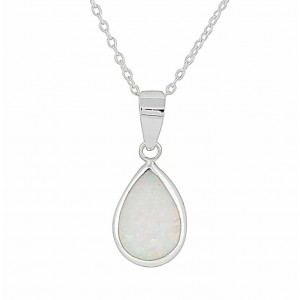 Teardrop White Lab Opal Silver Necklace