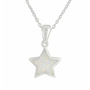 Star White Lab Opal Silver Necklace
