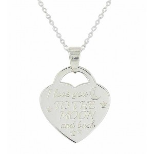 'I love you to the moon and back' Heart Necklace