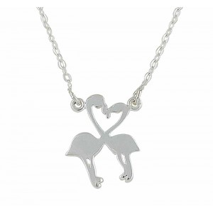 Duo of Flamingo Silver Necklace