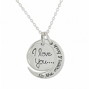 'I love you to the moon and back' Silver Necklace
