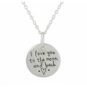 'I love you to the moon and back' Disc Silver Necklace