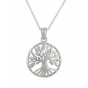 Tree of Life White Opal Sterling Silver Necklace