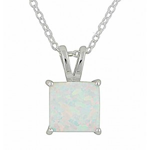 Small Square White Opal Silver Necklace