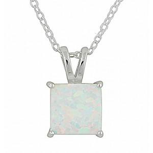 Small Square White Opal Silver Necklace