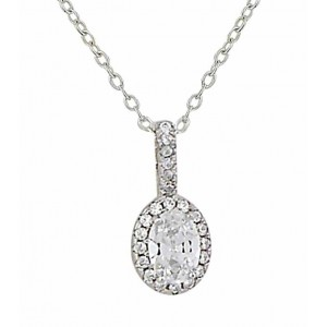 Sterling Silver Cubic Zirconia Oval Necklace