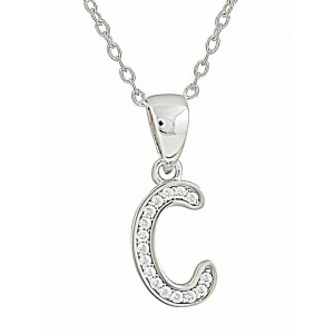 Initial C Cubic Zirconia Silver Necklace