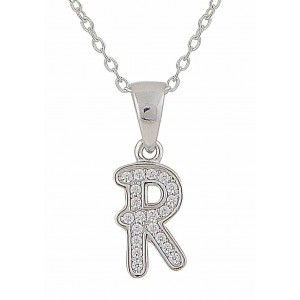 Initial R Cubic Zirconia Silver Necklace
