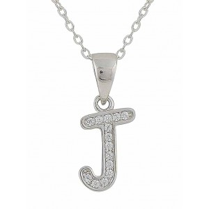 Initial J Cubic Zirconia Silver Necklace