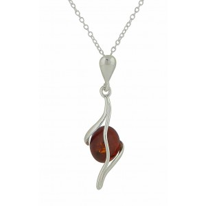 Oval Cognac Amber Silver Necklace