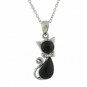 Black Onyx Silver Cat Necklace