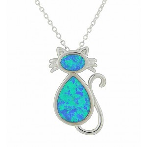 Blue Opal Cat Silver Necklace