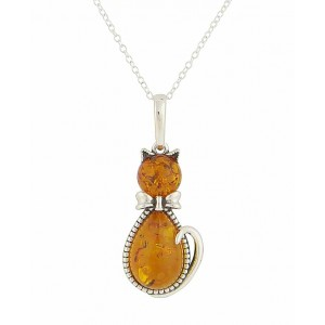 Amber Cat Silver Pendant