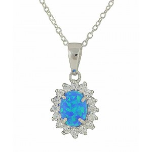 Sparkle Surround Blue Opal necklace