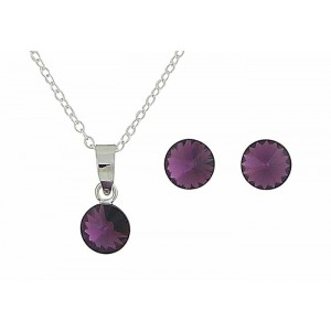 Amethyst Swarovski Earring and Necklace Set