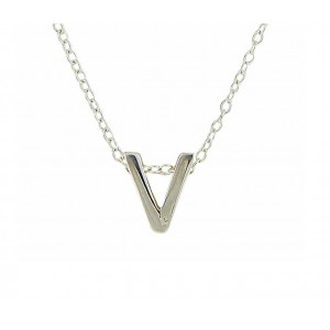 Letter V Simple Silver Necklace