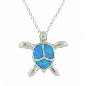 Blue Opal Turtle Silver Pendant Necklace