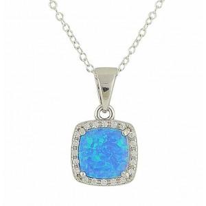 Blue Opal Regality Silver Pendant Necklace