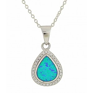 Dewdrop Blue Opal Silver Pendant