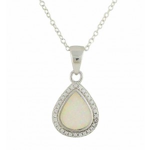 Dewdrop White Opal Silver Pendant