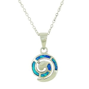 Blue Opal Coil Small Silver Pendant