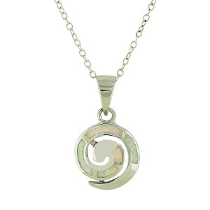 White Opal Coil Small Silver Pendant