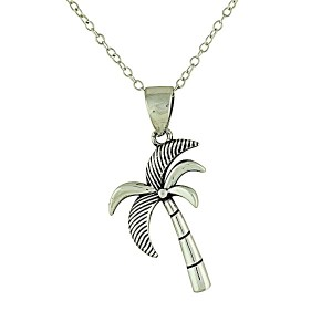 Etched Palm Silver Pendant Necklace