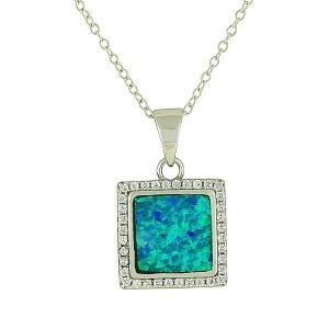Boxy Sparkle Blue Opal Pendant