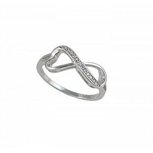 Cubic Zircornia Silver Infinity Ring