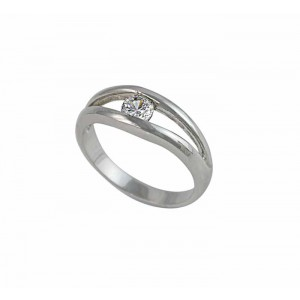 Single Cubic Zirconia Silver Ring